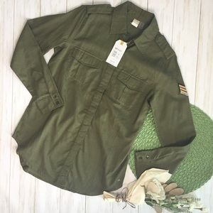 NWT 💫 Roxy Military Influence Button Down Top - 6